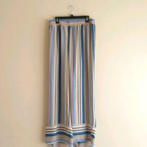 Ashley Stewart Sheer Wide Leg Striped Pants